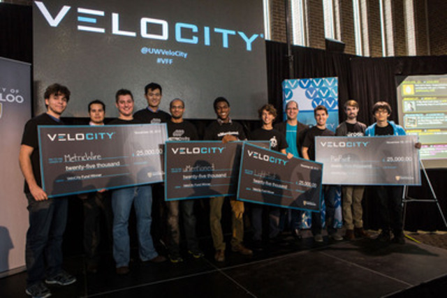 Four startups won grants of $25,000 each at the VeloCity Fund Finals at the University of Waterloo. (Photo credit: Shub Sengupta) (CNW Group/University of Waterloo)