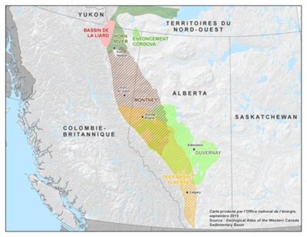 Figure 1 : Carte indiquant où se trouvent les ressources de gaz naturel non classique du bassin de la Liard (Groupe CNW/Office national de l'énergie)