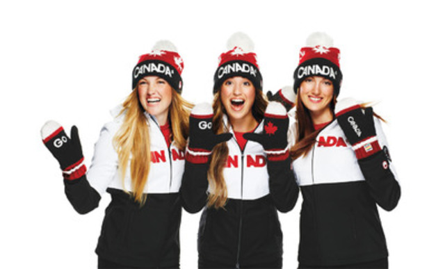 Olympians and official Red Mitten ambassadors, the Dufour-Lapointe sisters, along with Hudson's Bay, launch the 6th edition of its Red Mitten, the nation's most iconic symbol of Canadian Olympic pride and the source of millions of dollars in direct athlete funding through the Canadian Olympic Foundation. (CNW Group/Hudson's Bay)
