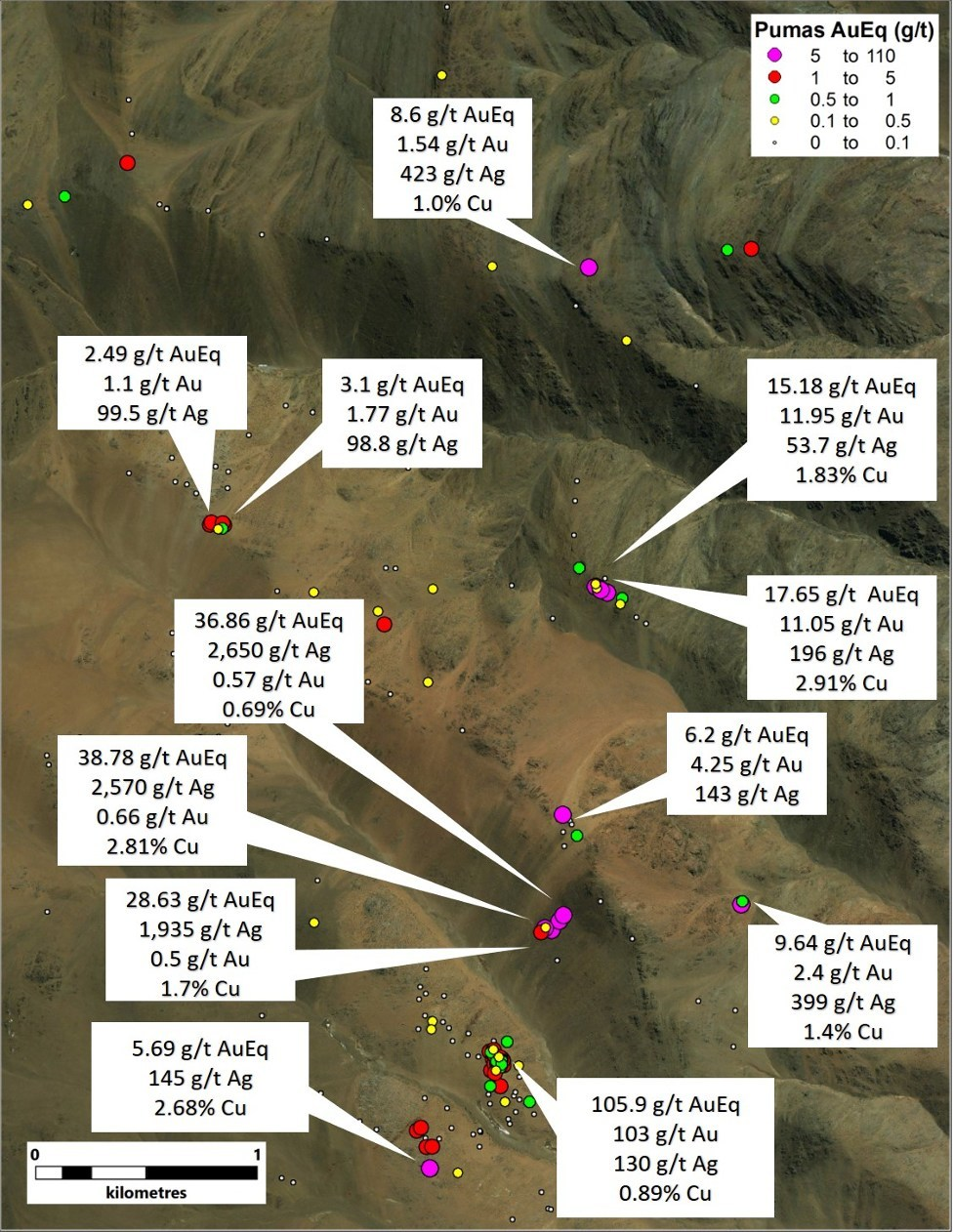 Figure 2. Highlighted results with thematic AuEq values at Los Pumas (CNW Group/Sable Resources Ltd.)