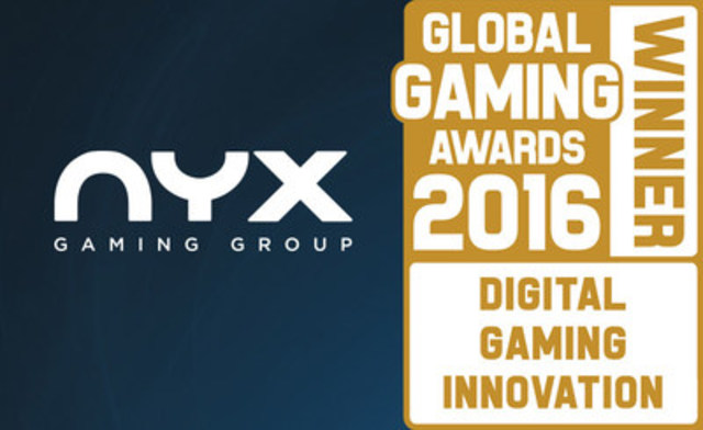 NYX Gaming Group recognized as the top Digital Gaming Innovator at the 2016 Global Gaming Awards in Las Vegas, Nevada. (CNW Group/NYX Gaming Group Limited)