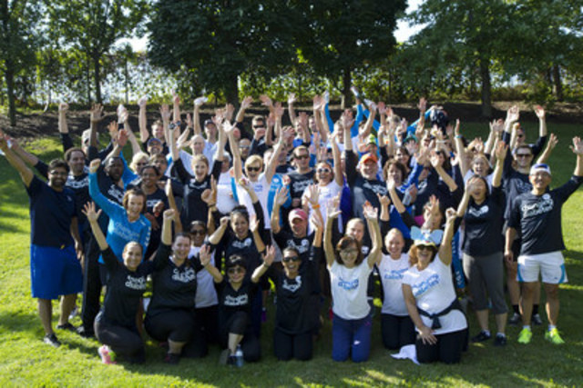 Novo Nordisk Canada employees celebrate their awareness raising and fundraising efforts in support of type 1 diabetes research at the 2015 JDRF Ride for Diabetes Research in Mississauga, September 2015. (CNW Group/Novo Nordisk Canada Inc.)