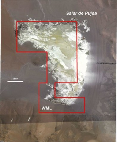 Figure 2:  Map Showing Pujsa 1 -7 Concessions relative to the Salar de Pujsa (CNW Group/Wealth Minerals Limited)