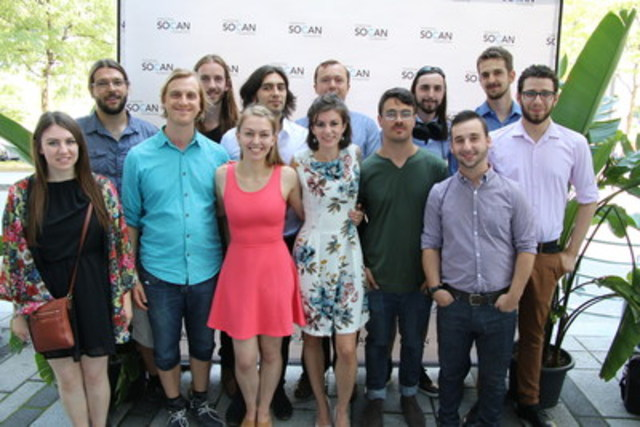 From left to right : Dylann Miller, Guillaume Campion, Antoine Binette Mercier, Olivier Bibeau, Katerina Gimon, William Kraushaar, Lora Bidner, Taylor Brook, Gabriel Dufour Laperrière, Spencer Creaghan, Benjamin Goldman, Maxime Fillion, Joseph Glaser (CNW Group/SOCAN)