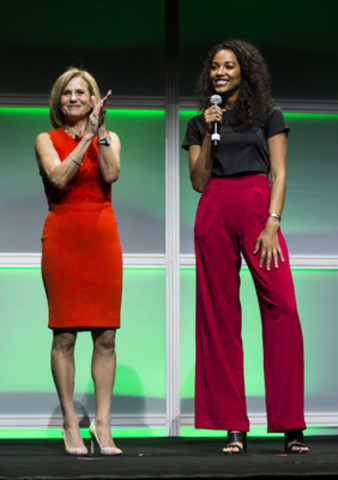 Barb Williams, Corus' Executive Vice President and Chief Operating Officer hits it out of the park with Kylie Bunbury, star of the upcoming Global series Pitch. (CNW Group/Corus Entertainment Inc.)