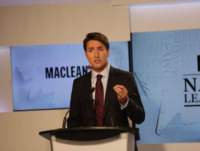 Justin Trudeau, leader of the Liberal Party of Canada, takes part in the Maclean's National Leaders Debate at the City and OMNI Television studio. This was the first televised debate ahead of this year's federal election (CNW Group/Maclean's)