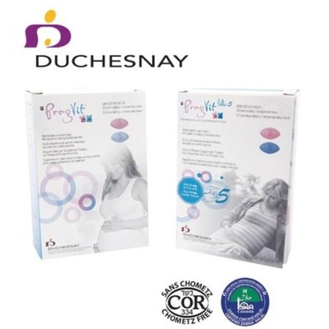 Duchesnay lance une nouvelle formulation de ses vitamines prénatales Pregvit® et Pregvit® Folic 5, toutes deux sont également certifiées Casher/Passover et Halal. (Groupe CNW/Duchesnay inc.)