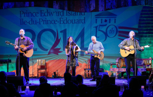 (From left to right) John Connolly, Patricia Richard, Chas Guay and Mark Haines perform in PEI 2014's Island Roadshow: Celebrating the Birthplace of Confederation in Calgary, an event targeted at media and travel influencers to unveil the official PEI 2014 Celebration Calendar. With more than 150 events and activities taking place on the island, the unforgettable year-long celebration will commemorate the 150th anniversary of the historic Charlottetown Conference. (CNW Group/Prince Edward Island 2014 Inc.)