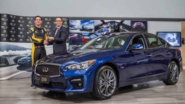Stephen Lester, managing director of Infiniti Canada, presenting Nicholas Latifi, Canadian Renault Sport Formula One test driver, with keys to a new Infiniti Q50 Red Sport 400 (CNW Group/Infiniti)