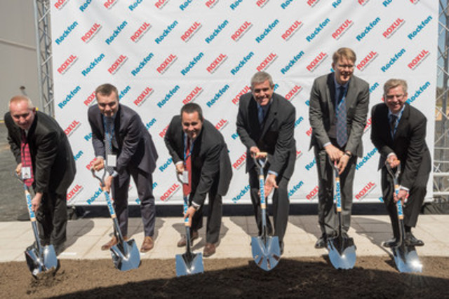 Special guests and executives attend the groundbreaking event for the new ROCKFON acoustic ceiling panel ...