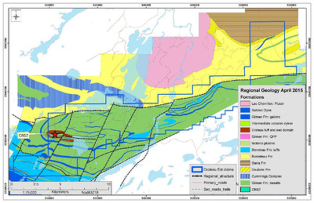 Figure 2: CBSZ Location and Regional geology plan (CNW Group/Chalice Gold Mines Limited)