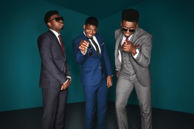 PK Subban in his double breasted pinstriped suit his brothers Jordan in the steel blue suit and Malcolm in the three piece tweed suit. (CNW Group/RW&CO.)