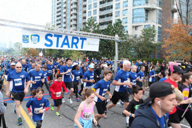 Over 7,000 supporters race, walk and stroll to raise funds for youth mental health in the RBC Run for the Kids at Mel Lastman Square, Toronto. (CNW Group/Sunnybrook Health Sciences Centre)