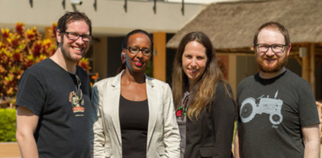 Group [L-R] Beau's CEO Steve Beauchesne, Rwandan entrepreneur Fina Uwineza, Beau's CFO Tanya Beimers, Beau's Creative Director Jordan Bamforth, credit Brendan Coutts (CNW Group/Beau's All Natural Brewing Company, Ltd)