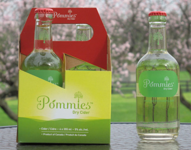 Pommies Dry Cider, produced from 100% Ontario heritage apples. (CNW Group/Southern Cliff Brands)