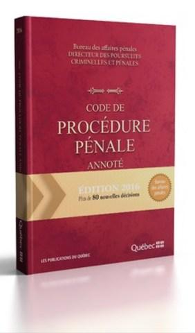 Page couverture - Code de procédure pénale annoté 2016 (Groupe CNW/Publications du Québec)