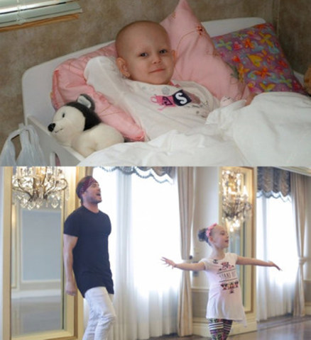 Olivia (top) pictured during her cancer treatment and Blake McGrath (bottom left) with Olivia creating the #DoTheLivi move. (CNW Group/The Children's Wish Foundation of Canada)