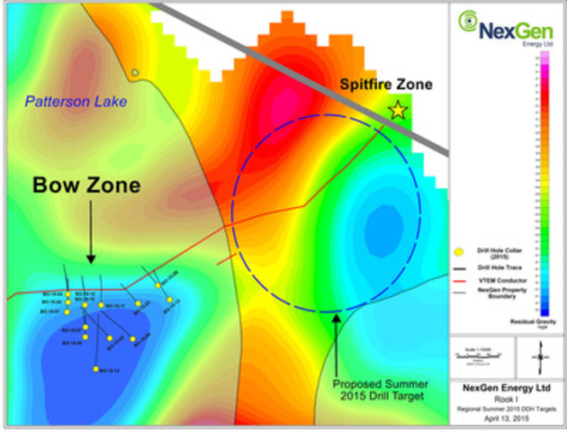 Figure 3: Proposed Drill Testing of Gravity Low Anomaly northeast of Bow Discovery (CNW Group/NexGen Energy Ltd.)