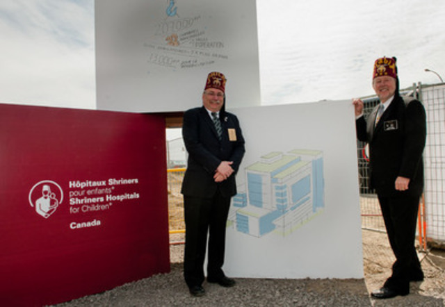 Chairman of the Board of Governors of Shriners Hospitals for Children®-Canada, Paul Frank and Jerry Gantt, Member of the Boards of Directors for Shriners International and Shriners Hospitals for Children and Liaison for the Montreal hospital construction project (CNW Group/SHRINERS HOSPITAL FOR CHILDREN (CANADA))