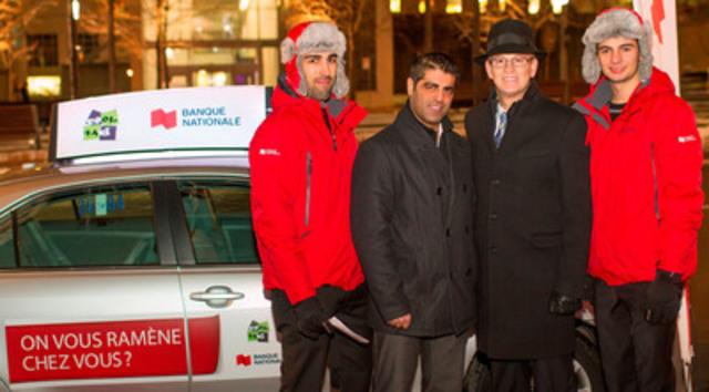Les ambassadeurs de la Banque Nationale en compagnie (de gauche à droite) de M. Dory Saliba, président du Comité provincial de concertation et de développement de l'industrie du taxi, et de M. Nicola Di Iorio, un des trois pères fondateurs de Cool Taxi. (Groupe CNW/Banque Nationale du Canada)