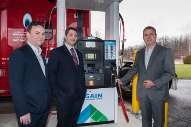 Right to left, David Vincent, Director, Business Development and Renewable Energies, Gaz Métro; Marc-André Paquin, Business Development Manager, GAIN Clean Fuel; Daniel Goyette, President, C.A.T. (CNW Group/Gaz Métro)