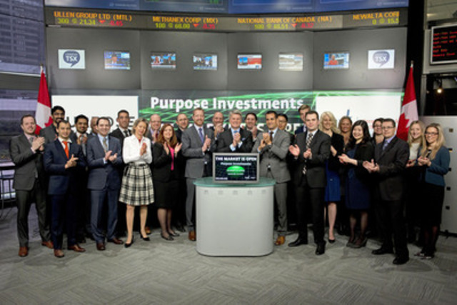 Som Seif, CEO, Purpose Investments Inc., joined Amelia Nedovich, Head, Business Development, Exchange Traded Funds and Structured Products, TMX Group to open the market to launch Purpose International Dividend Fund (PID) and Purpose International Tactical Hedged Equity Fund (PHW). As of March 31, 2015, Purpose Investments has 11 ETFs listed on Toronto Stock Exchange with a market capitalization of almost $538 million and two closed-end funds with a combined market capitalization of almost  $116 million. Purpose International Dividend Fund (PID) and Purpose International Tactical Hedged Equity Fund (PHW) commenced trading on Toronto Stock Exchange on April 22, 2015. For more information please visit purposeinvest.com. (CNW Group/TMX Group Limited)