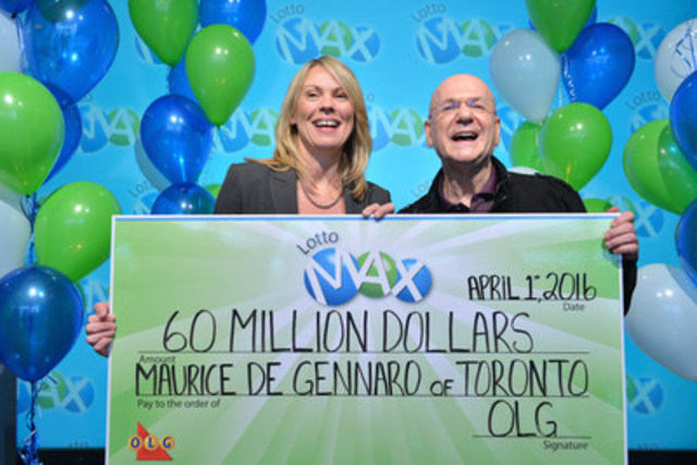 OLG's Vice President of Lottery Marketing and Sales Wendy Montgomery presents Toronto resident Maurice De Gennaro with a cheque for $60,000,000 at the OLG Prize Centre Friday. Maurice won the March 18, 2016 LOTTO MAX jackpot (Photo Credit: Shan Qiao). (CNW Group/OLG Winners)