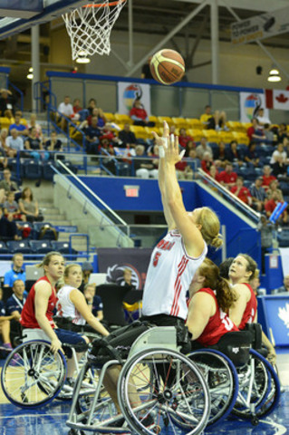 Janet McLachlan, of Team Canada, competes against Great Britain at the 2014 Women's World Wheelchair Basketball Championship on June 24, 2014 at the Mattamy Athletic Centre, in Toronto, Ont. (CNW Group/Wheelchair Basketball Canada)