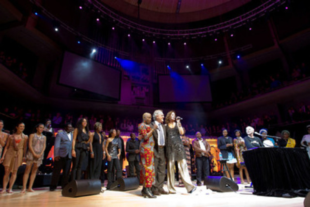 Grammy Award winners Angélique Kidjo, Sarah McLachlan and Annie Lennox sing Happy Birthday to Stephen Lewis at the sold-out Hope Rising! concert on November 7 at Roy Thomson Hall. The second annual event raised $250,000 for the Stephen Lewis Foundation, which raises funds for community-level organizations in Africa working to turn the tide of HIV/AIDS. (Photo Credit: Kristina Laukkanen) (CNW Group/Stephen Lewis Foundation )