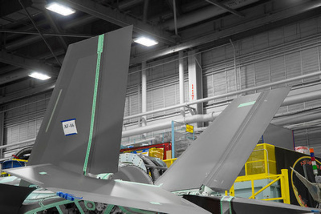 The first Magellan Aerospace-manufactured F-35 horizontal tail assemblies were installed at Lockheed Martin's final assembly line in Fort Worth, Texas. (CNW Group/Magellan Aerospace Corporation)