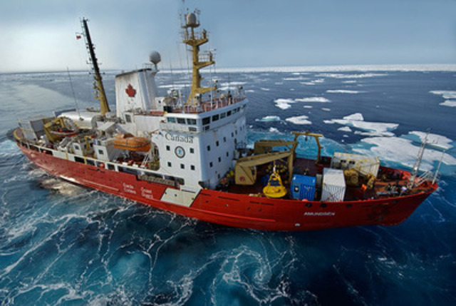The scientific research icebreaker CCGS Amundsen has been supporting ArcticNet research since 2003. (CNW ...