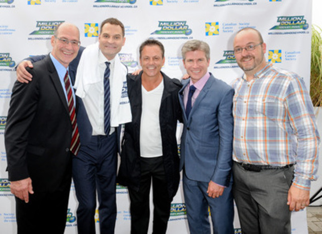 Sportscasters Jay Onrait and Dan O'Toole and hockey legends Doug Gilmour and Brad Marsh joined Mike Kirkpatrick and the Canadian Cancer Society to launch Million Dollar Hockey Pool. Photo Credit: George Pimentel Photography (CNW Group/Canadian Cancer Society (Ontario Division))