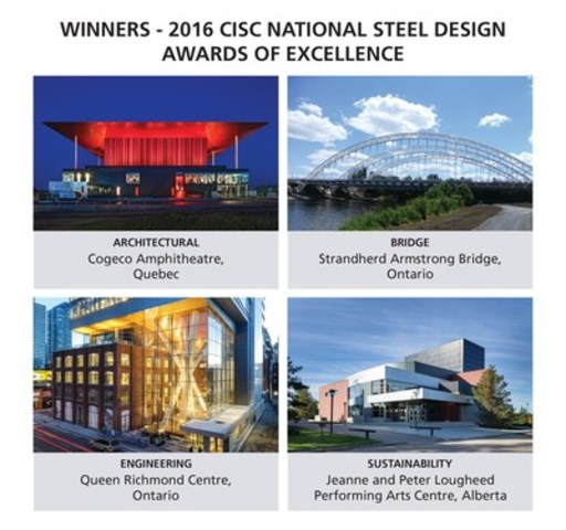 2016 CISC National Steel Design Awards celebrate excellence in steel construction (CNW Group/Canadian Institute of Steel Construction)