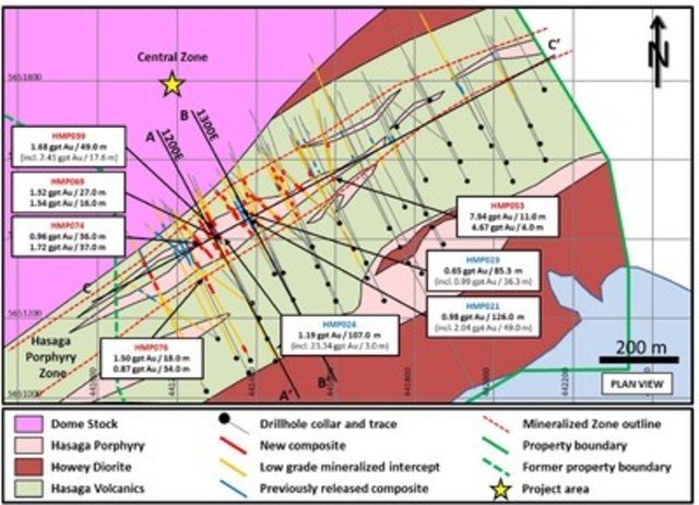 Figure 1:  Plan view of Hasaga Porphyry drilling (CNW Group/Premier Gold Mines Limited)