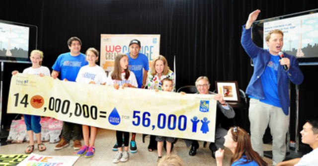 """Kai Nevins of Ontario, one of the many student fundraisers participating in the Free The Children/RBC """"We Create Change"""" campaign, with Gord Nixon, president and CEO of RBC, Jennifer Tory, regional president, Greater Toronto Region, RBC and Free The Children Co-Founder Marc Kielburger. The $1.4 million raised will provide 56,000 people in developing countries with clean water for life. (CNW Group/RBC)"""