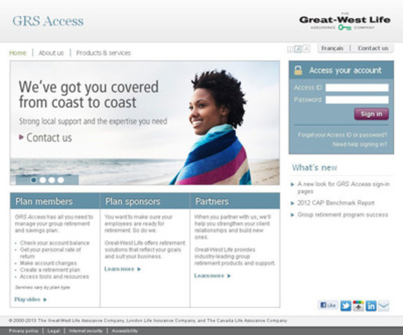 GRS Access introduces a fresh look with improved navigation and sign-in function from every page. (CNW Group/Great-West Life Assurance Company)