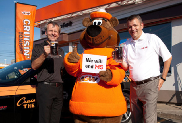 Cruisin' to End MS: On August 21, A&W celebrates its 6th annual Cruisin' to End MS to benefit the MS Society of Canada. On this day, $1 from every Teen Burger® sold will be donated to help end MS. Paul Hollands, President and CEO, A&W Food Services of Canada Inc. (left) and Yves Savoie, President and CEO, Multiple Sclerosis Society of Canada were joined by the Great A&W Root Bear® to kick-off the event. Credit: A&W Food Services of Canada Inc. (CNW Group/A&W Food Services of Canada Inc.)