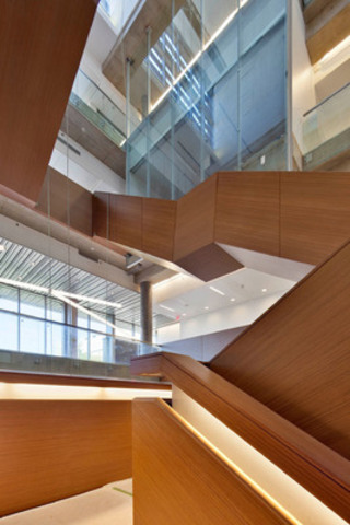 Six-storey staircase in central atrium connects Quantum Computing and Nanotechnology Institutes in the massive Quantum Nano Centre. (CNW Group/Kuwabara Payne McKenna Blumberg Architects)