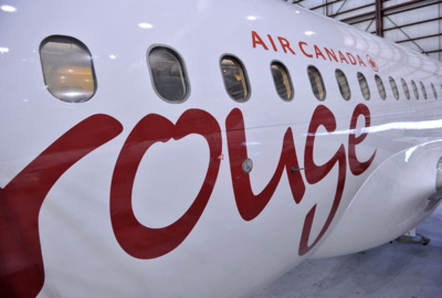 Countdown to takeoff! Air Canada rouge has just taken delivery of its first Airbus 319 aircraft in its new livery at Mirabel Airport today where it will now undergo a new interior design. Air Canada rouge will soon be leading the way in affordable, leisure travel when service starts July 1. Further details will on flight team training and the unveiling of new uniforms starts May 27th. (CNW Group/Air Canada rouge)