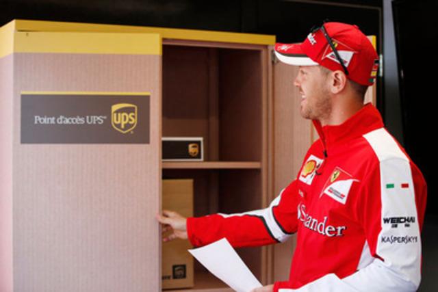 Le pilote de l'écurie Ferrari Sebastian Vettel a récupéré certains articles importants à notre emplacement Point d'accès UPS(MC) (Groupe CNW/UPS Canada Ltee.)