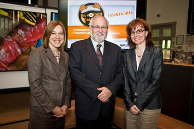 On the picture, Johanne Lamanque, Vice-président Insurance Bureau of Canada - Québec and General manager Groupement des assureurs automobiles, Marc Thompson, General Manager Association des écoles de conduite du Québec and Anne Morin, Public Affairs Supervisor. (CNW Group/INSURANCE BUREAU OF CANADA)