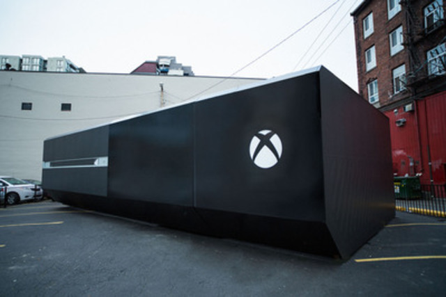 A larger-than-life Xbox One appears in Vancouver to kick off the national celebration of the Xbox One launch - the largest in Xbox history. The Canadian Xbox Live community can unlock incredible one-of-a-kind experiences and rewards by pledging their gamertags to the project known as One Source. (CNW Group/XBOX CANADA)