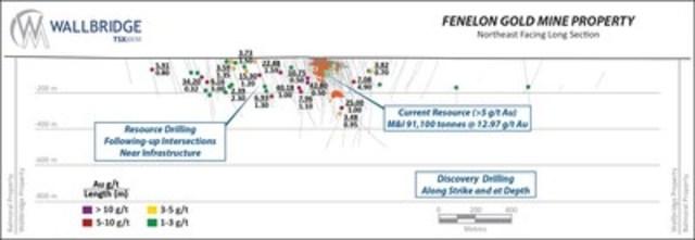 Figure 1 - Northeast Facing Long Section (CNW Group/Wallbridge Mining Company Limited)