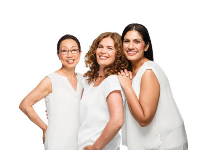 To commemorate their 50th anniversary in Canada, Dove is launching a new campaign to encourage women of every age to feel beautiful. From left to right: Kaoru Tosa-Hosotsuji (65), Magda Nikolic (54) and Neetu Abrol (33). (CNW Group/Dove)