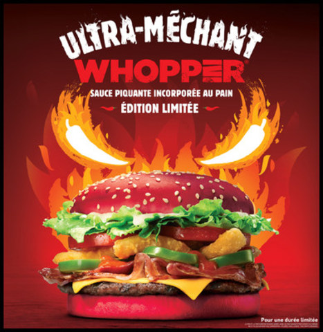 Burger King lance l'Ultra-MÉCHANT WHOPPER(R), servi sur un pain rouge imbibé de sauce piquante (Groupe CNW/Burger King Canada)