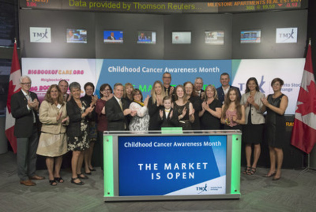 Nate Hudson, nine year old childhood cancer survivor joined Orlee Wertheim, Head Business Development, Global Mining, Toronto Stock Exchange and TSX Venture Exchange to open the market to raise awareness of the Big Book of Care  and to recognize September as International Childhood Cancer Awareness Month.  The Big Book of Care is a Canada-wide partnership of 17 organizations that benefits children with cancer. The goals are to increase awareness, educate people about the disease, and inspire Canadians to support cancer groups.  By sharing stories of courage and hope The Big Book of Care, is working to change the story of childhood cancer. For more information, please visit http://bigbookofcare.org/ (CNW Group/TMX Group Limited)