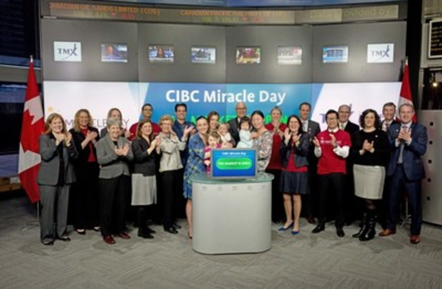 Monique Gravel, Head of CIBC Wood Gundy and representatives from Centennial Child and Infant Centre joined Suzanne Peters, Director, Business Communications & Strategic Programs, TMX Group to open the market to celebrate CIBC Miracle Day. In its 31st year, CIBC's Capital markets employees and Wood Gundy Investment Advisors will again donate their fees and commissions on the first Wednesday in December to help kids in need. Since its inception, CIBC Miracle Day has raised nearly $80 million for children's charities across Canada and $228 million globally. For more information please visit https://www.cibc.com/ca/inside-cibc/community-matters/miracle-day.html (CNW Group/TMX Group Limited)