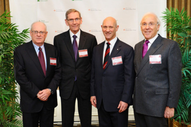 From left to right: Tom O'Neill, Chair of the Board of BCE and Bell, and Chancellor, Order of the Business Hall of Fame; Joseph Shannon, President, Atlantic Corporation; David Mirvish, President, Ed Mirvish Enterprises; and Ian Greenberg, President and Chief Executive Officer, Astral. Peter Gilgan, Founder and CEO, Mattamy Homes was unable to attend today's announcement. (CNW Group/Junior Achievement of Canada)
