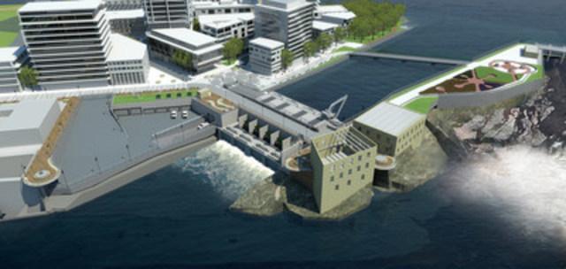 Notre vision du projet de construction de la nouvelle centrale aux chutes de la Chaudière comprend trois volets : produire de l''énergie propre et renouvelable de manière écologique; offrir un espace public ouvert dont tous pourront profiter; et mettre à l''honneur les Premières Nations du Canada et le passé industriel d''Ottawa. (Groupe CNW/Société de portefeuille d'Hydro Ottawa inc.)
