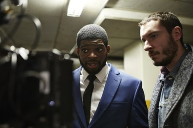 Lights, camera, action, PK Subban with Jet Films director Jimmi Francoeur on RW&CO. 2016 Spring campaign short film. (CNW Group/RW&CO.)